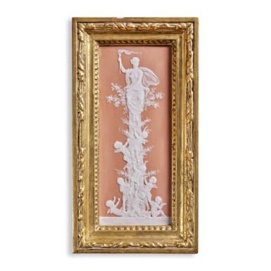 A PÂTE-SUR-PÂTE SALMON-PINK-GROUND RECTANGULAR PLAQUE, 'THE LIGHTHOUSE' CIRCA 1873