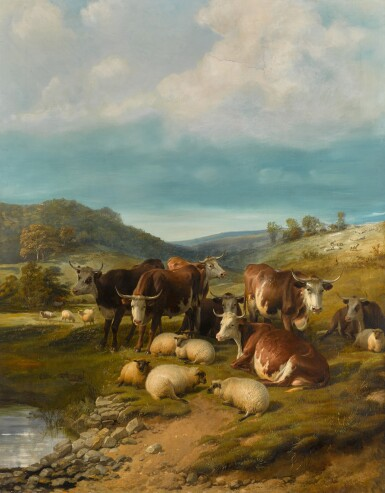 View 1. Thumbnail of Lot 144. Cattle and Sheep at a Watering Place.