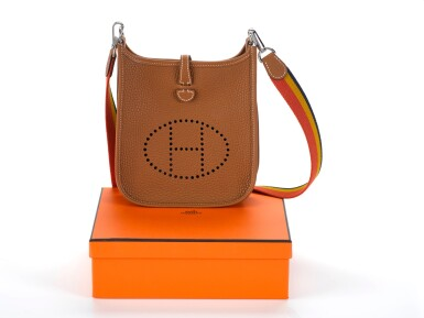 EVELYNE III 16 GOLD COLOUR IN TOGO LEATHER WITH PALLADIUM HARDWARE AND RAINBOW STRAP. HERMÈS, 2018