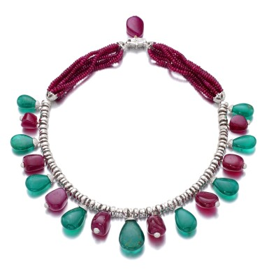 View 3. Thumbnail of Lot 13. MICHELE DELLA VALLE | RUBY, EMERALD AND DIAMOND NECKLACE.