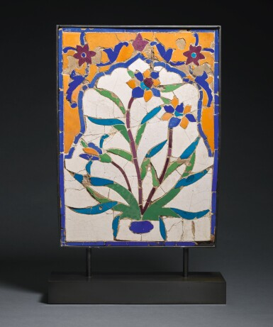 A MUGHAL CUT-MOSAIC POTTERY TILE PANEL, NORTH INDIA/PAKISTAN, 17TH CENTURY