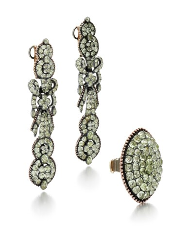 View 3. Thumbnail of Lot 214. PAIR OF CHRYSOBERYL EARRINGS AND A RING.
