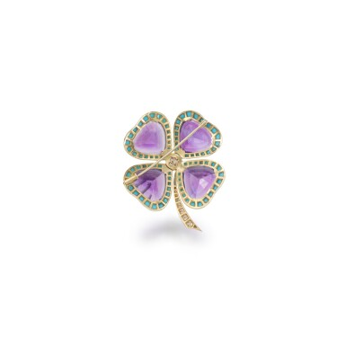 View 3. Thumbnail of Lot 43. Amethyst, turquoise and diamond brooch.