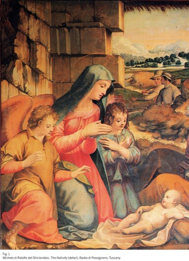 View 5. Thumbnail of Lot 59. MICHELE TOSINI, CALLED MICHELE DI RIDOLFO DEL GHIRLANDAIO  |  THE HOLY FAMILY WITH THE YOUNG SAINT JOHN THE BAPTIST.