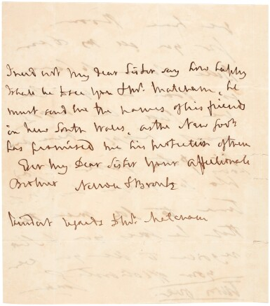 View 1. Thumbnail of Lot 89. Horatio, Viscount Nelson, and Emma Hamilton   two autograph letter signed, to Catherine and George Matcham, 1805.