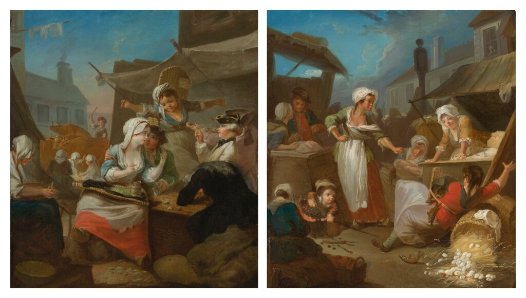 ATTRIBUTED TO JEAN-BAPTISTE CHARPENTIER     A PAIR OF COUNTRY MARKET SCENES: THE FIRST, AN AMOROUS COUPLE DRINKING BESIDE A TAVERN; THE SECOND, WOMEN FIGHTING OVER AN OVERTURNED BASKET OF EGGS