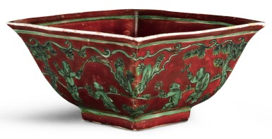 A RED AND GREEN-ENAMELLED 'BOYS' BOWL JIAJING MARK AND PERIOD | 明嘉靖 紅地綠彩嬰戲圖方盌 《大明嘉靖年製》款