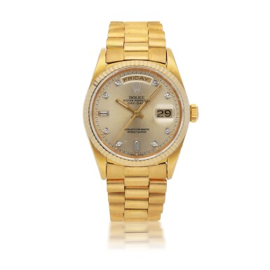 ROLEX |  DAY-DATE, REF 18038   YELLOW GOLD AND DIAMOND-SET WRISTWATCH WITH DAY, DATE AND BRACELET   CIRCA 1987