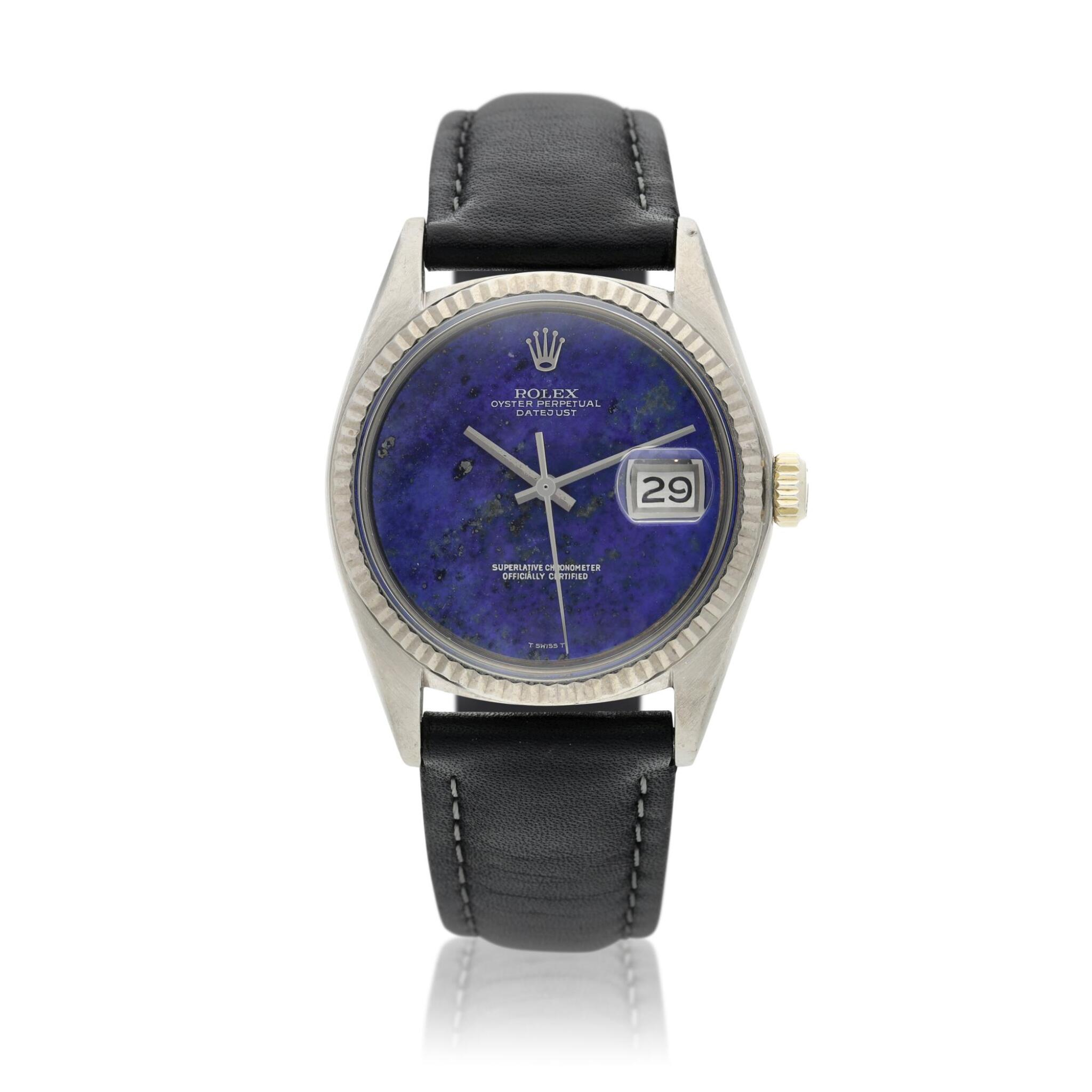 View full screen - View 1 of Lot 18. Reference 1601 Datejust  A white gold automatic wristwatch with date and lapis lazuli dial, Circa 1977 .