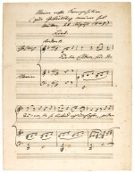 "M. Bruch. Autograph manuscript of the song ""Für die Eltern"", his earliest composition, written out in 1920"