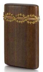 A FABERGÉ VARICOLOURED GOLD-MOUNTED PALISANDER ETUI, WORKMASTER HJALMAR ARMFELDT, 1899-1908