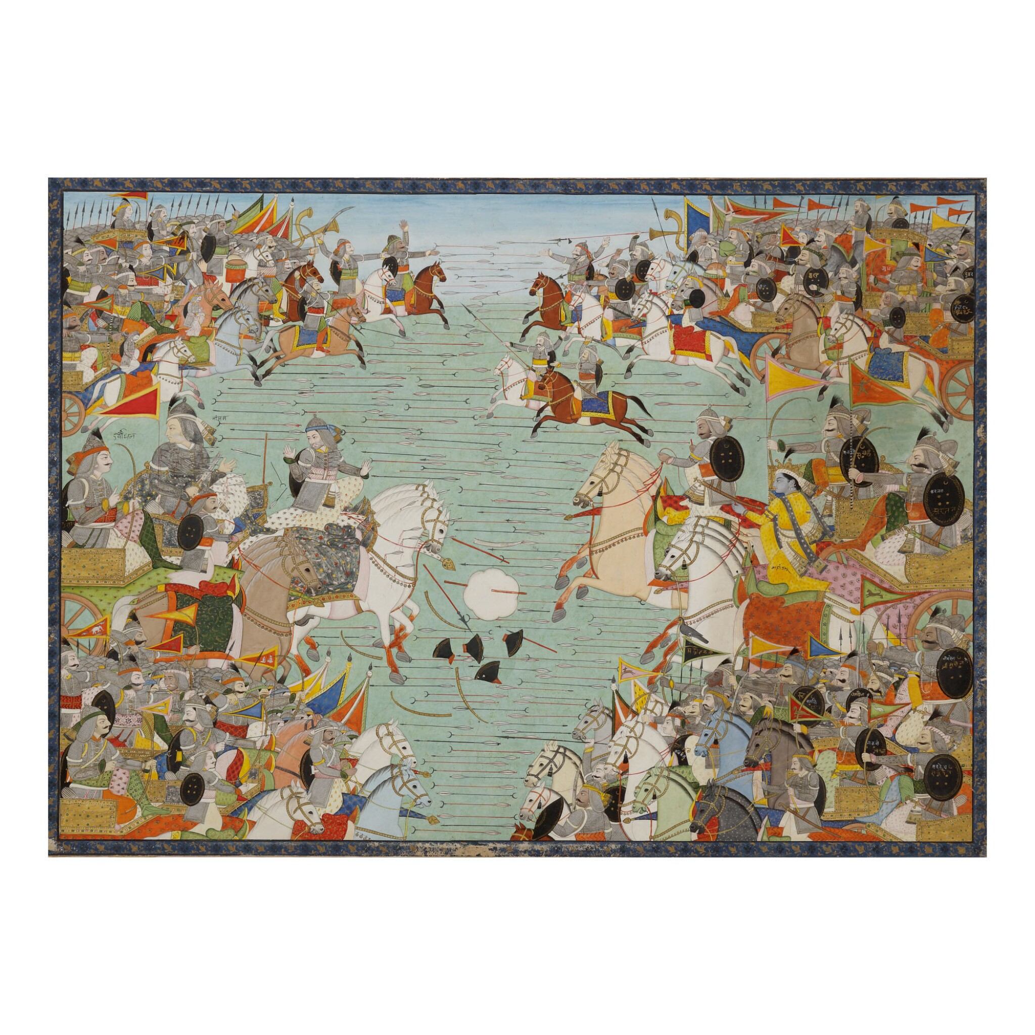 View full screen - View 1 of Lot 381. AN ILLUSTRATION TO THE MAHABHARATA: THE PANDAVA AND KAURAVA ARMIES FACE EACH OTHER IN COMBAT,  INDIA, KANGRA, CIRCA 1810.