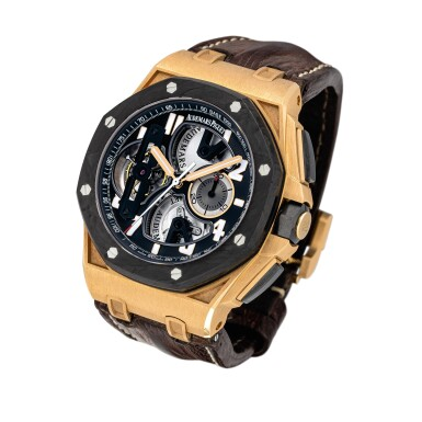 View 2. Thumbnail of Lot 2240. Audemars Piguet | Royal Oak Offshore, Reference 26288OF.OO.D002CR.01, A pink gold and forged carbon semi-skeletonised tourbillon chronograph wristwatch, Circa 2010 | 愛彼 | 皇家橡樹離岸型系列 型號26288OF.OO.D002CR.01  粉紅金及鍛碳半鏤空陀飛輪計時腕錶,約2010年製.