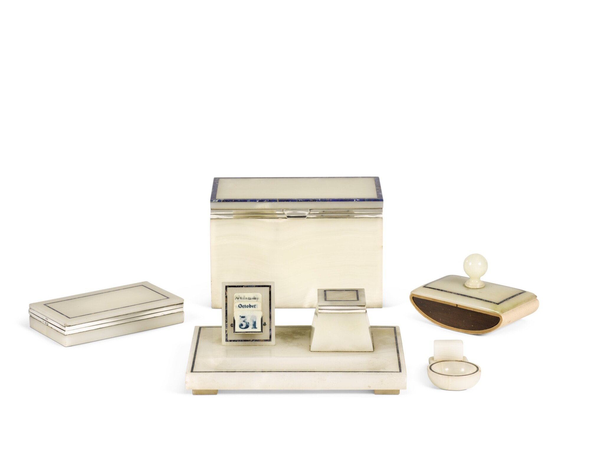 AN ART DECO SILVER-MOUNTED LAPIS LAZULI BANDED ONYX DESK SET BY HENRY GRIFFITH & SONS LTD., LONDON, 1921 AND 1922