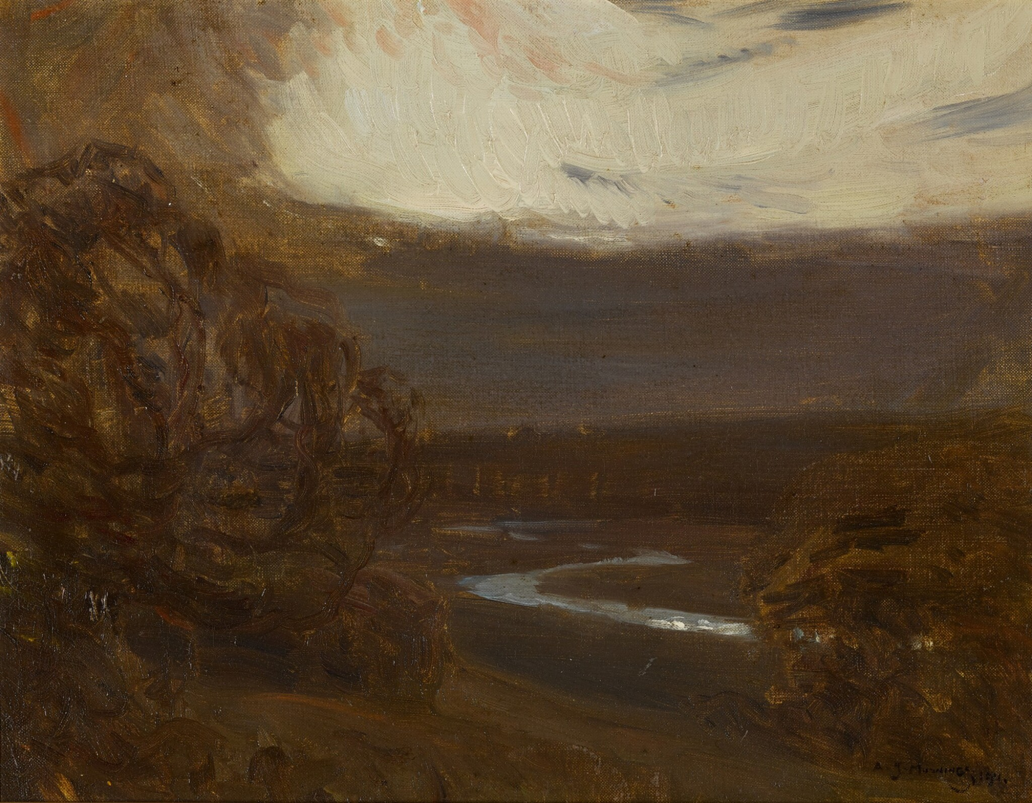 View 1 of Lot 133. River Landscape at Twilight.