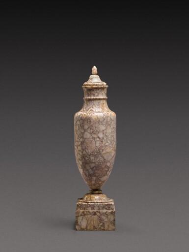 View 3. Thumbnail of Lot 167. An Italian breccia dorata marble vase, circa 1800.
