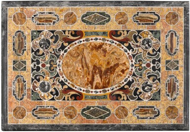 View 1. Thumbnail of Lot 16. AN ITALIAN PIETRE TENERE AND PIETRA DURA TABLE TOP, ROME EARLY 17TH CENTURY.