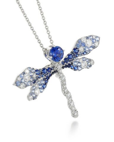 View 2. Thumbnail of Lot 288. JAMES GANH | SAPPHIRE AND DIAMOND BROOCH/PENDANT NECKLACE, 'BLUE DRAGONFLY'.
