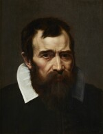 PIETER VAN LINT | PORTRAIT OF A BEARDED MAN, BUST-LENGTH, IN BLACK WITH A WHITE COLLAR