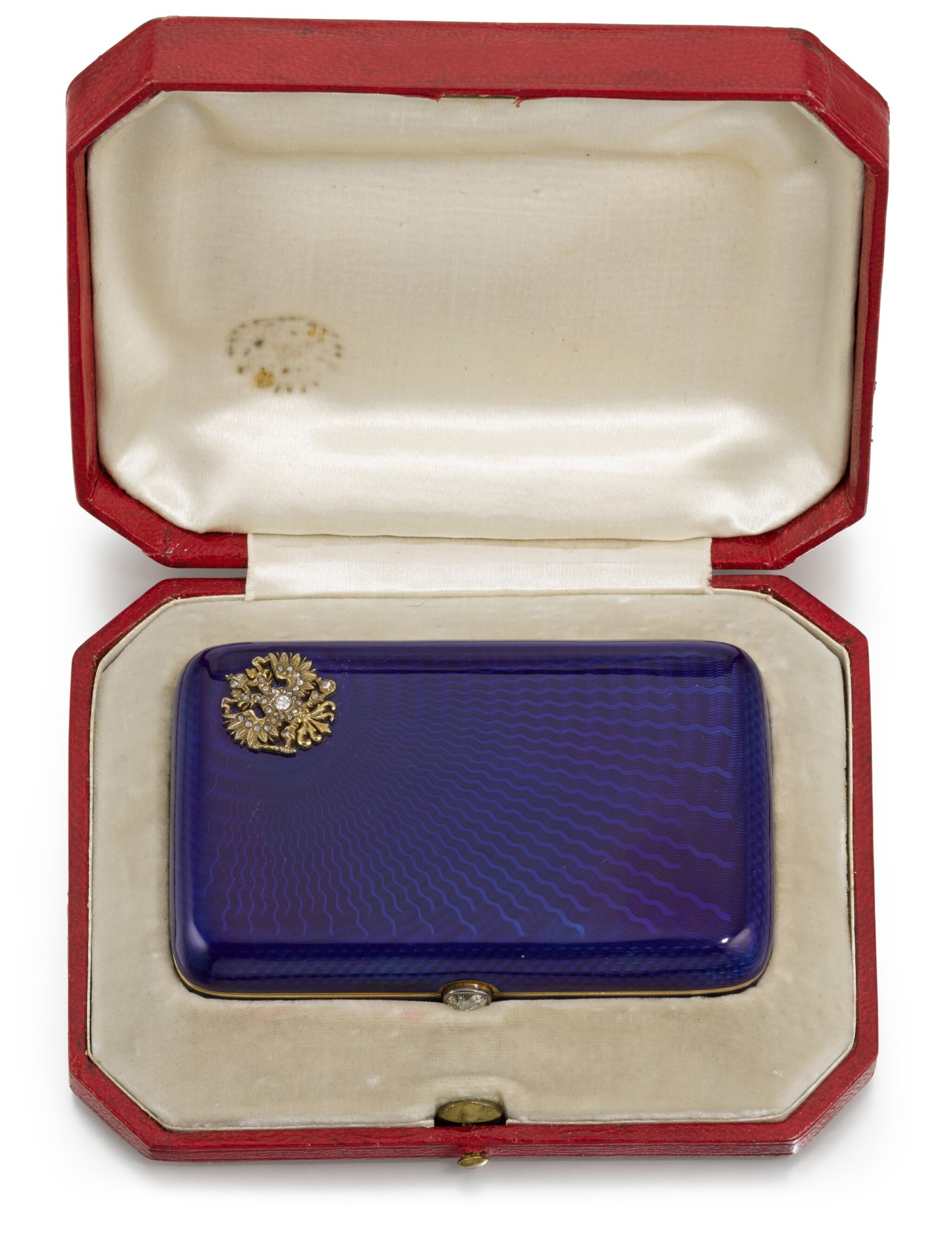 View full screen - View 1 of Lot 8. An Imperial Presentation jewelled, gold and guilloché enamel cigarette case, workmaster Carl Blank for Hahn, St Petersburg, circa 1896.