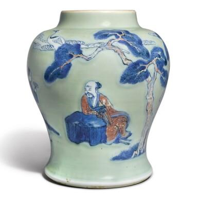 View 1. Thumbnail of Lot 143. An underglaze-blue, copper-red, and celadon-glazed jar, Qing dynasty, Kangxi period   清康熙 豆青地青花釉裏紅松下高士圖罐.