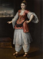 ANDREA DEL MICHIELI, CALLED VICENTINO |  PORTRAIT OF A SULTANA, FULL-LENGTH, WEARING WHITE SALVAR AND GÖMLEK, AND A RED AND GOLD EMBROIDERED YELEK, WITH A CAPRICCIO OF CONSTANTINOPLE BEYOND
