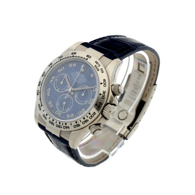 View 3. Thumbnail of Lot 9. REFERENCE 116519 DAYTONA A RARE WHITE GOLD AUTOMATIC CHRONOGRAPH WRISTWATCH WITH SODALITE DIAL, CIRCA 2002.