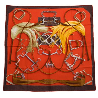 """View 1. Thumbnail of Lot 144. Hermès """"Project Carres"""" Silk Twill Scarf 90cm."""