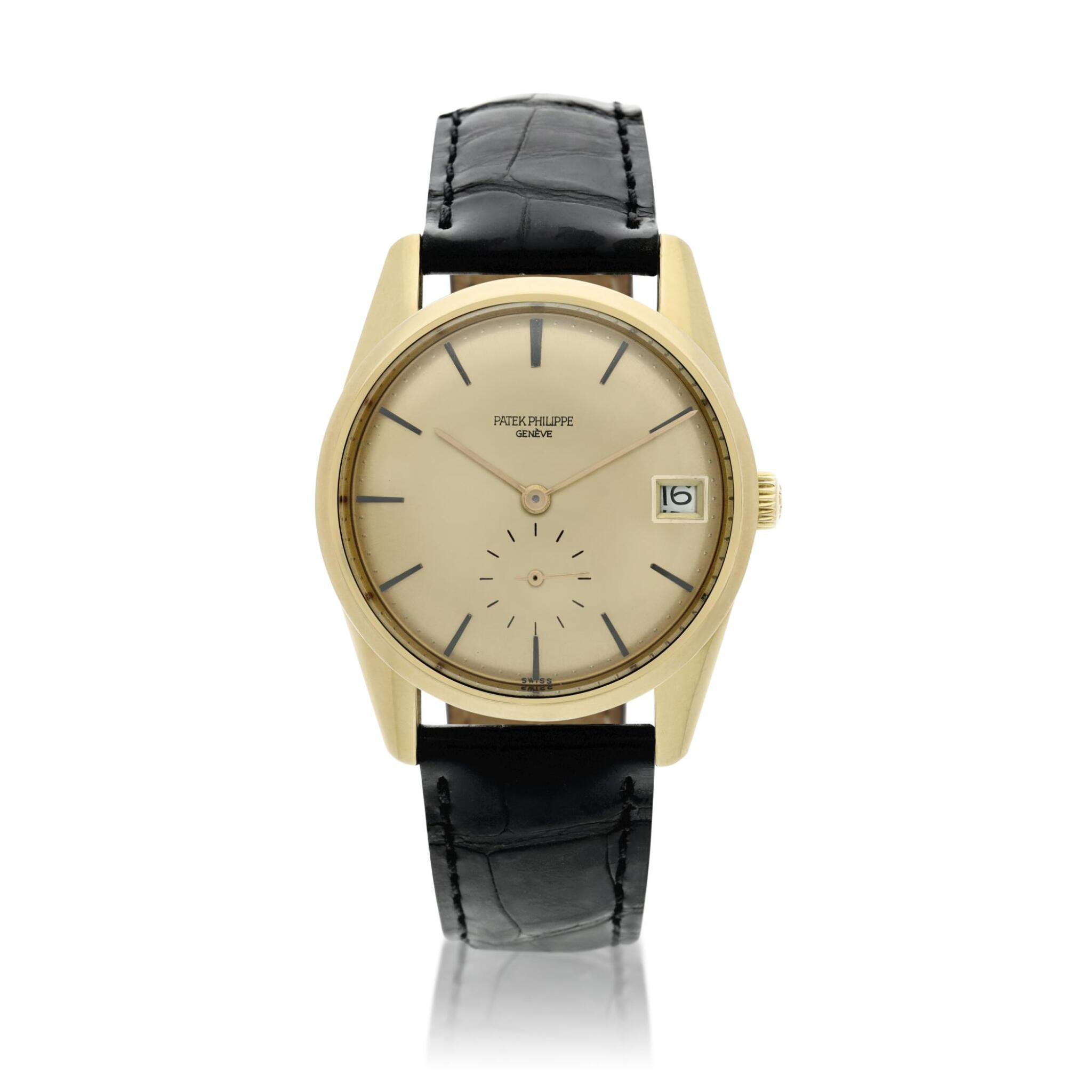 View full screen - View 1 of Lot 251. Reference 3558  A yellow gold automatic wristwatch with date, Made in 1968.
