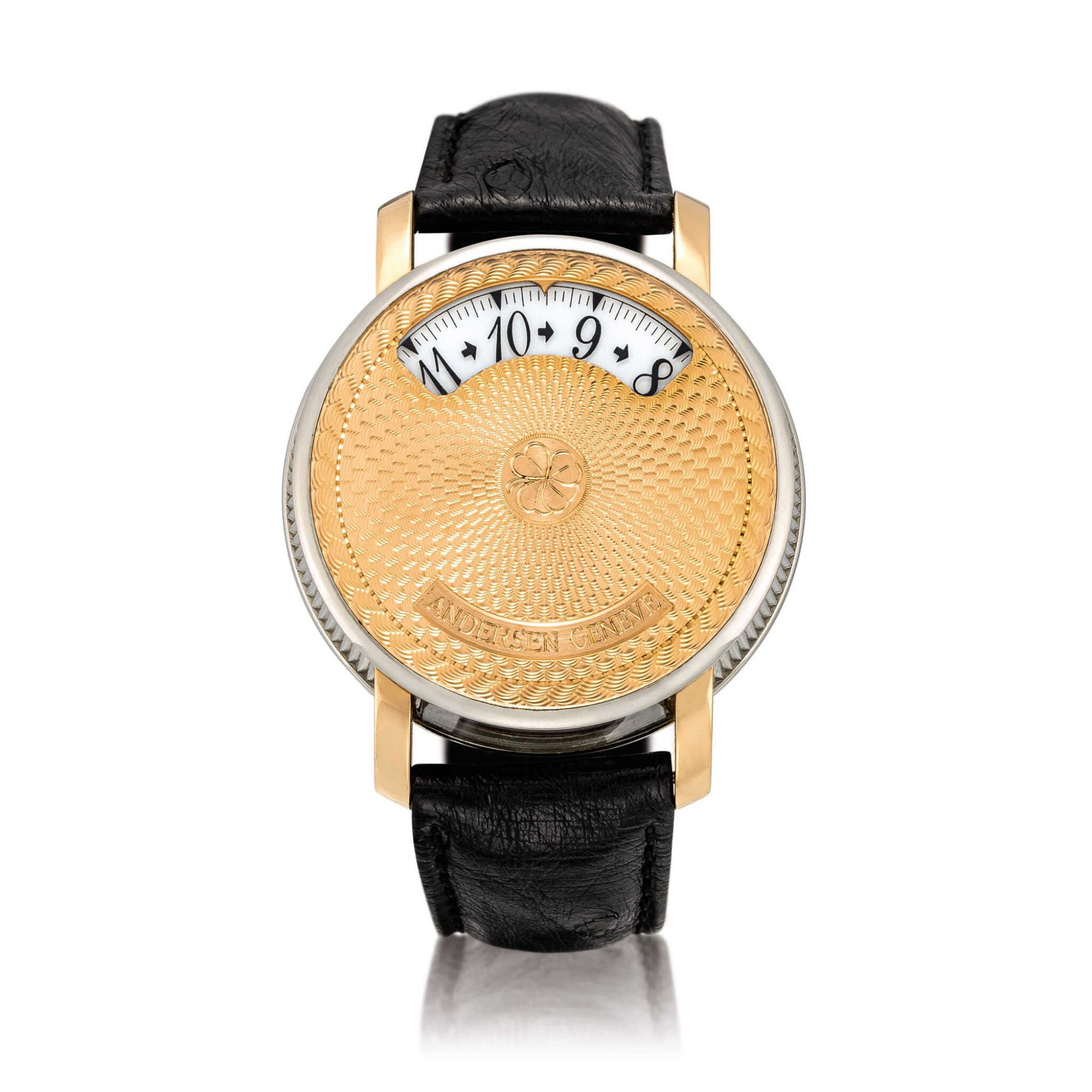 View full screen - View 1 of Lot 2204. Andersen Geneve   Montre À Tact, A limited edition two colour gold wristwatch with wandering time display, Circa 2002   Montre À Tact  限量版雙色金腕錶,備扇形時間顯示,約2002年製.