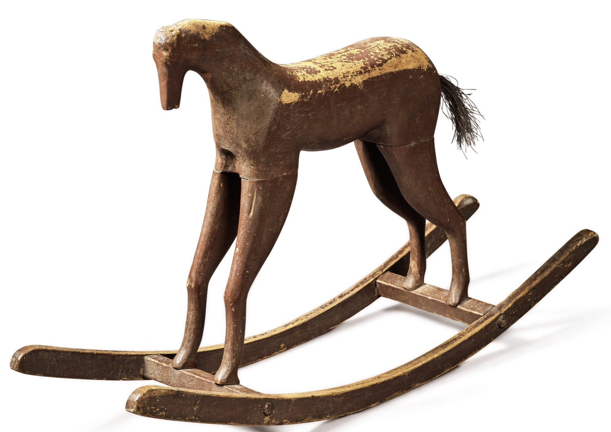 View full screen - View 1 of Lot 1498.  PAINTED AND CARVED OAK AND HORSEHAIR CHILD'S ROCKING HORSE, CIRCA 1900.