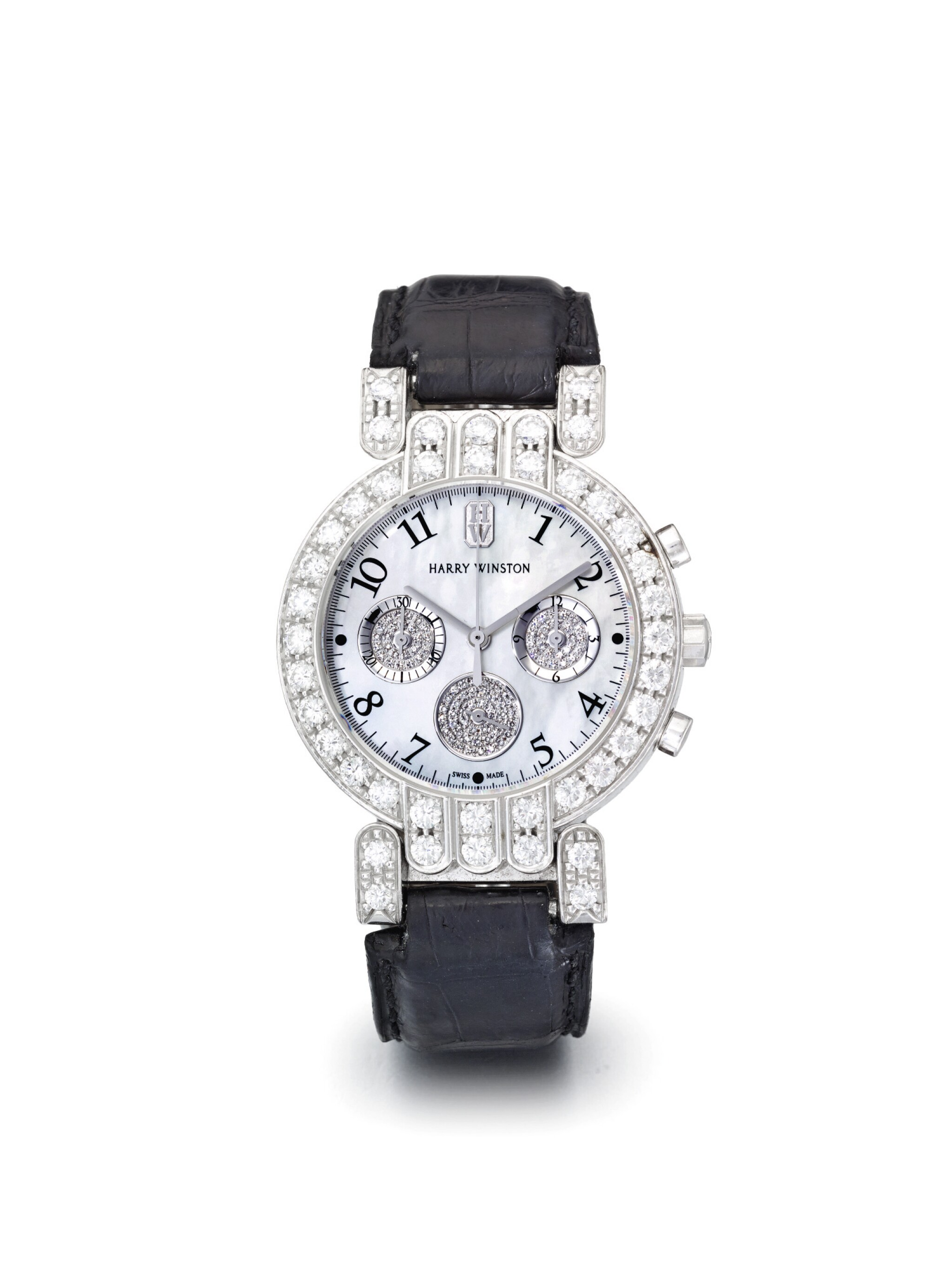 View full screen - View 1 of Lot 70. HARRY WINSTON |  A WHITE GOLD AND DIAMOND SET CHRONOGRAPH WRISTWATCH WITH MOTHER OF PEARL DIAL CIRCA 2000.