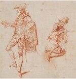JEAN ANTOINE WATTEAU | TWO STUDIES OF ELEGANT MEN, ONE STANDING, THE OTHER KNEELING