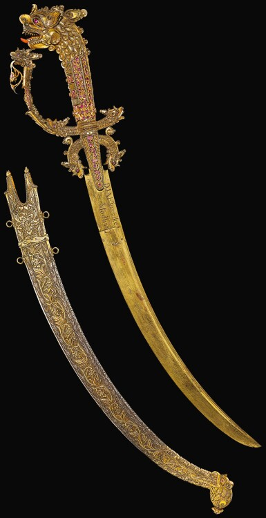A JEWELLED COURT SWORD (KASTANA) AND SCABBARD, SRI LANKA, PROBABLY KANDY, 19TH CENTURY