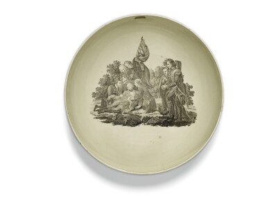 View 3. Thumbnail of Lot 136. A Wedgwood creamware transfer-printed commemorative punch bowl, late 18th century.