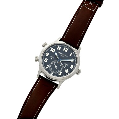 View 8. Thumbnail of Lot 63. REFERENCE 5524G-001 PILOT CALATRAVA TRAVEL TIME A WHITE GOLD AUTOMATIC DUAL TIME WRISTWATCH WITH DATE, LOCAL AND HOME TIME, AND DAY/NIGHT INDICATION, CIRCA 2016.