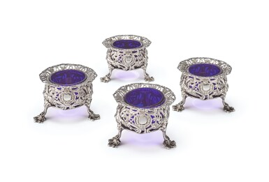 View 1. Thumbnail of Lot 262. A SET OF FOUR GEORGE II SILVER CHINOISERIE SALTS, THOMAS HEMING, LONDON, 1754.