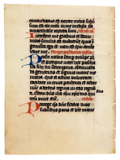 View 8. Thumbnail of Lot 1. Nine manuscript leaves, mostly 15th century, from books of hours and prayerbooks, on vellum.