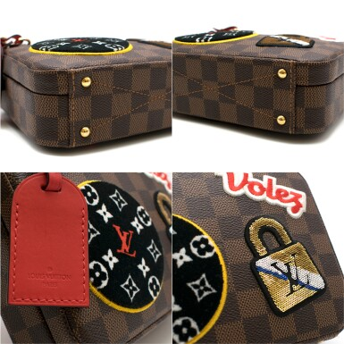 View 8. Thumbnail of Lot 160. Stories Box Damier Ebène Colour coated canvas and red cowhide leather trim with sequin, velour & embroidered patches. Louis Vuitton. Cruise Collection 2018..