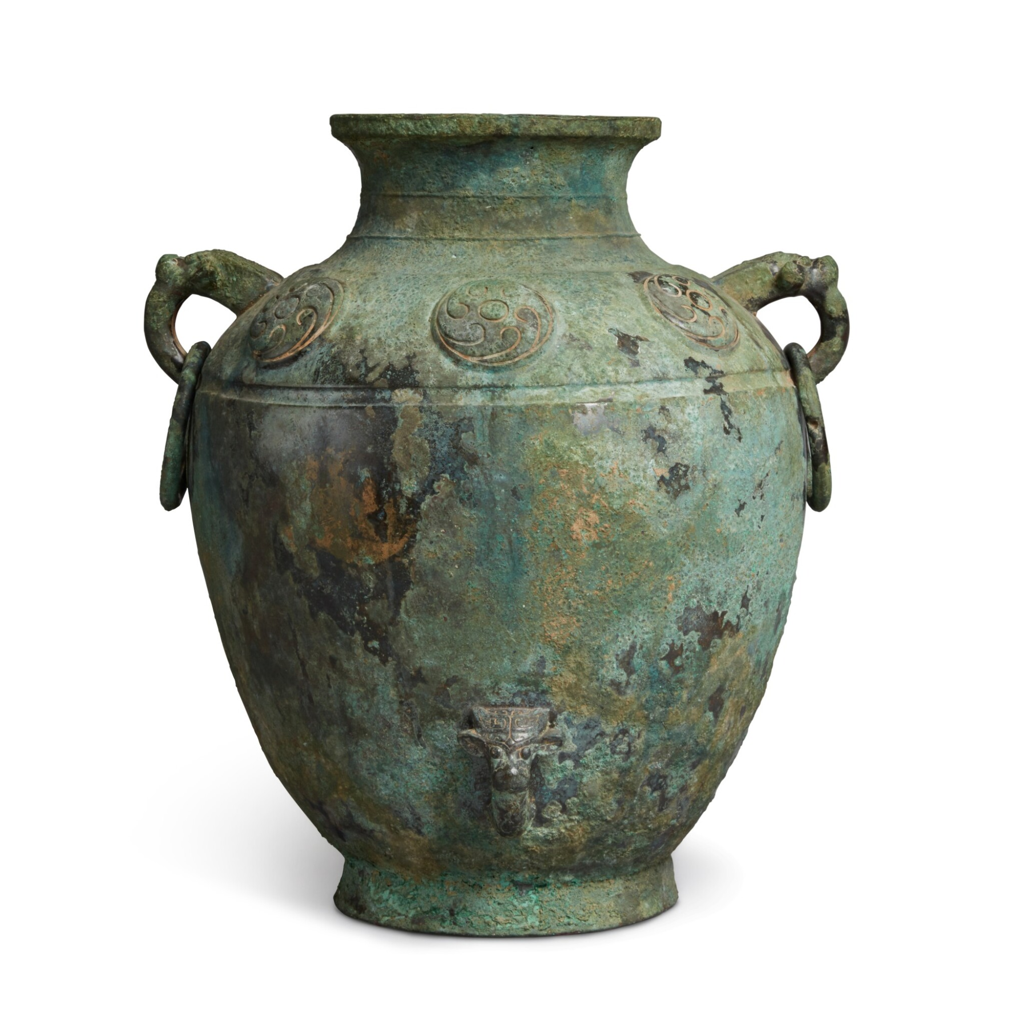 View full screen - View 1 of Lot 9. A rare archaic bronze ritual wine vessel (Lei), Late Shang dynasty | 商末 需祖庚罍.