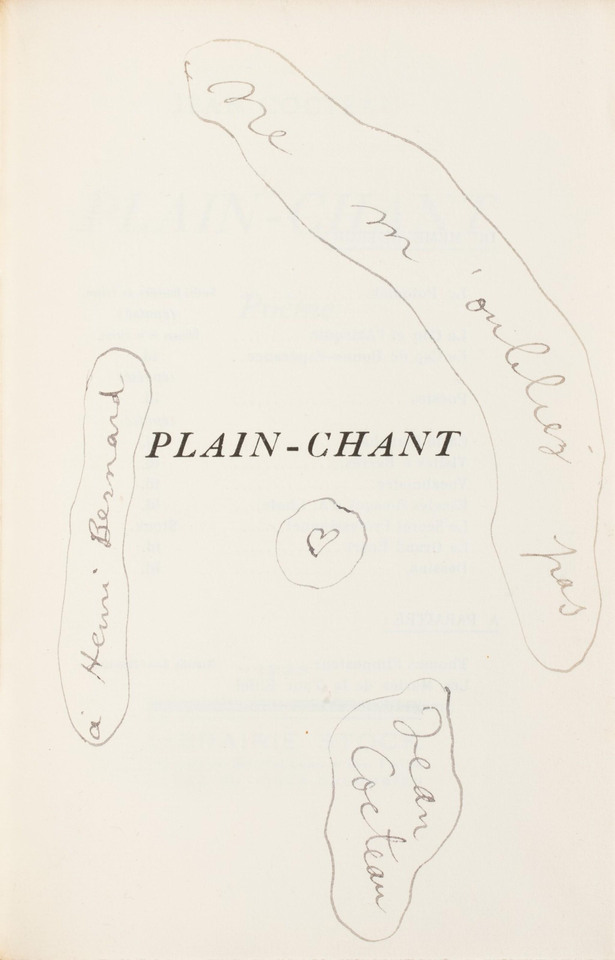 View full screen - View 1 of Lot 225. COCTEAU. Plain-chant. 1923. Broché. 1/25 premiers exemplaires sur Hollande. Envoi a.s..