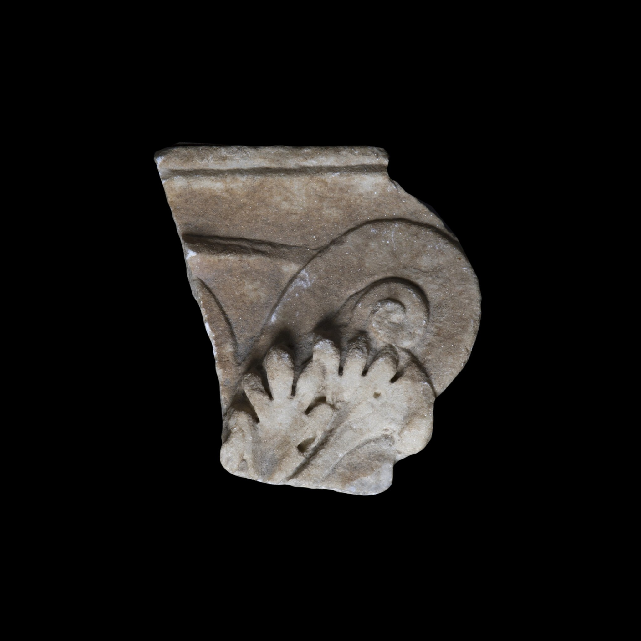 View full screen - View 1 of Lot 107. A Roman Marble Pilaster Capital Fragment, circa 2nd Century A.D..