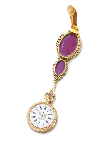 SWISS | A GOLD SEED PEARL AND ENAMEL OPEN FACED WATCH WITH ASSOCIATED CHATELAINE CIRCA 1910