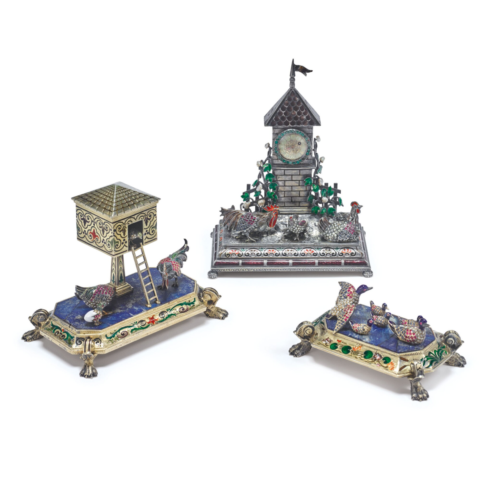 View full screen - View 1 of Lot 879. AN ASSEMBLED THREE PIECE SILVER, ENAMEL, HARDSTONE, PEARL, AND GEM-SET BARNYARD CLOCK GARNITURE, PROBABLY HANAU, LATE 19TH CENTURY.