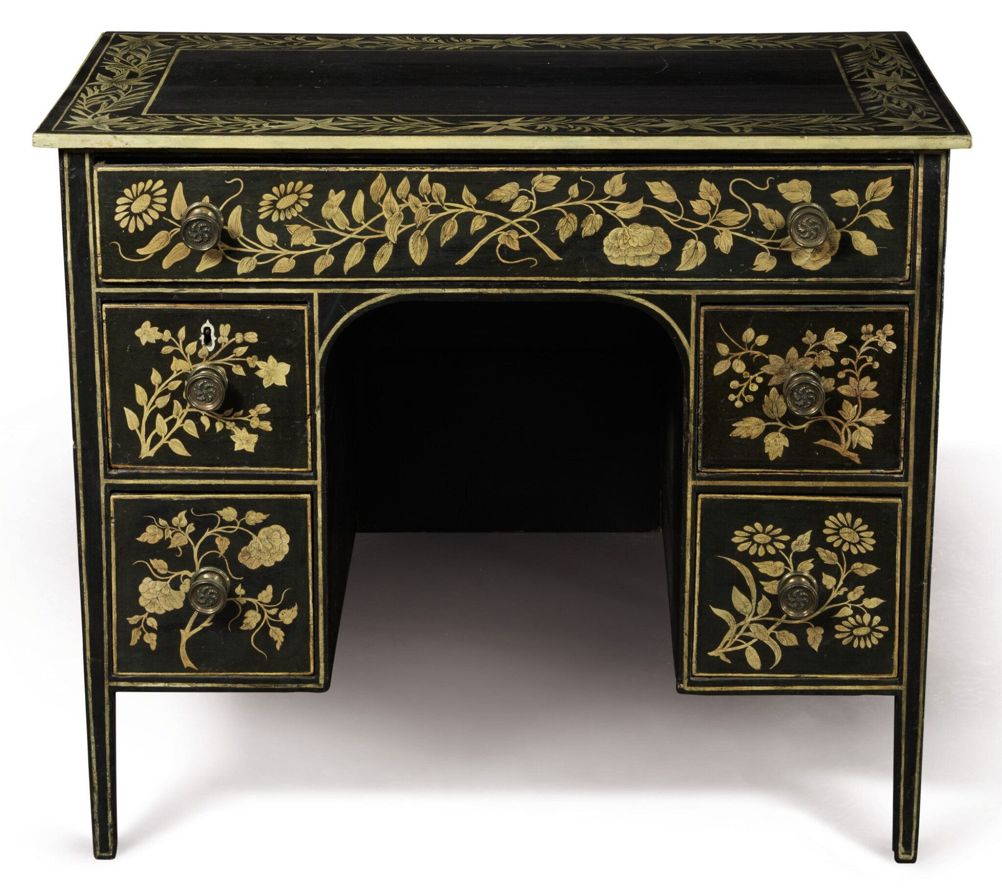 View full screen - View 1 of Lot 27. A PENWORK SMALL KNEEHOLE DESK.