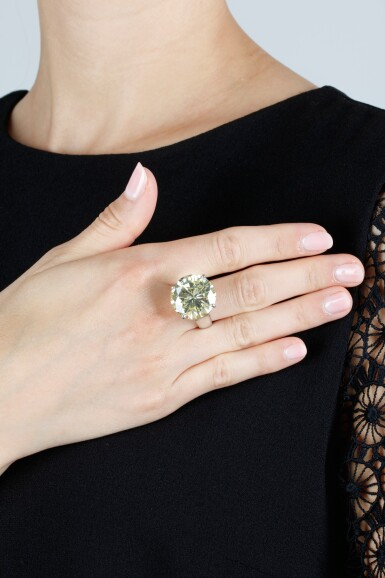 View 3. Thumbnail of Lot 313. FANCY INTENSE YELLOW DIAMOND RING.