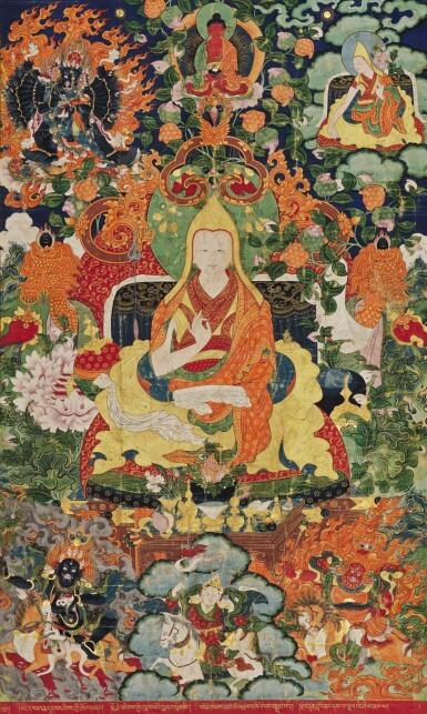A THANGKA DEPICTING THE SIXTH PANCHEN LAMA, LOBZANG PALDEN YESHE TIBET, LATE 18TH CENTURY   十八世紀晚期 藏傳班禪喇嘛源流-六世班禪羅桑班丹益西貝桑布唐卡
