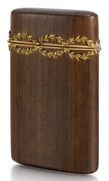 View 1. Thumbnail of Lot 310. A FABERGÉ VARICOLOURED GOLD-MOUNTED PALISANDER ETUI, WORKMASTER HJALMAR ARMFELDT, 1899-1908.