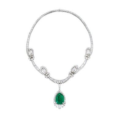View 1. Thumbnail of Lot 459. EMERALD AND DIAMOND PENDANT-NECKLACE, OSCAR HEYMAN & BROTHERS | 祖母綠配鑽石吊墜項鏈,Oscar Heyman & Brothers.