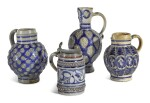 THREE WESTERWALD STONEWARE JUGS AND A PEWTER-MOUNTED TANKARD, CIRCA 1700